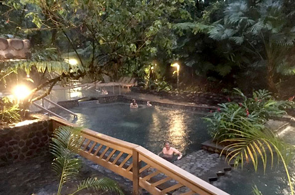 Enjoying a soak in Arenal's hot springs