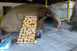 Colombia bread baking with stone oven
