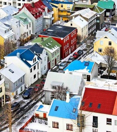 Aerial view of Reyjavik, Iceland