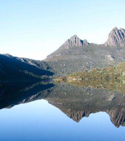 Cradle Mountain reflecting in Australia lake