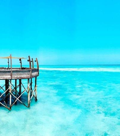 Dock over ocean in Zanzibar, Tanzania