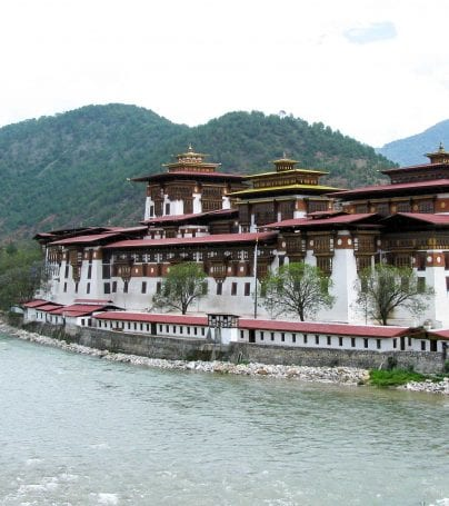 Building on the river in Punakha, Butan