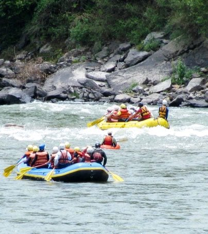 Travelers go rafting in Bhutan