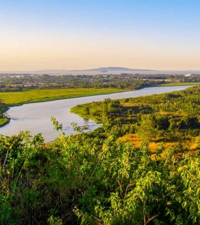 Blue Nile River with Bahir Dar behind, in Ethiopia