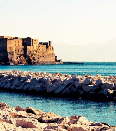 Seaside castle in Naples, Italy