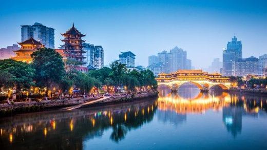 Jin River in Chengdu, China