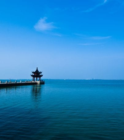 Small shrine at the end of dock in Suzhou, China