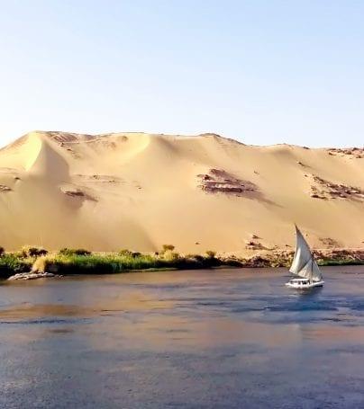 Boat on the Nile near Aswan, Egypt