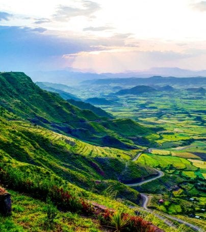 View of the landscape of Ethiopia and the Semien Mountains
