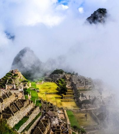 Machu Picchu seen through fog