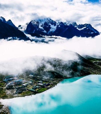 Aerial view of Gokyo Lake and Khumjung, Nepal