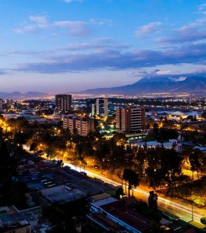 Aerial view of Guatemala City at dusk