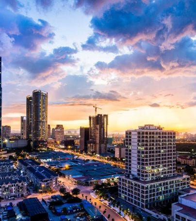 Skyline of Hanoi, Vietnam at dusk