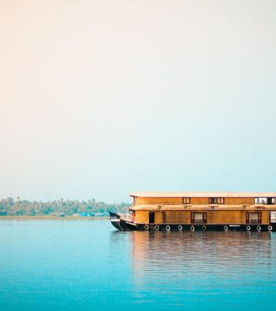 Houseboat on calm waters in Kochi, India