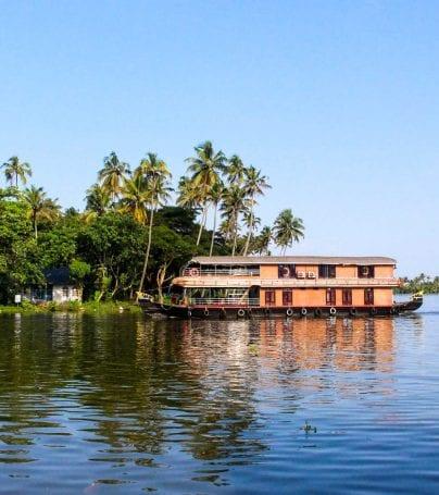 Houseboat on lake near Kumarakom, India