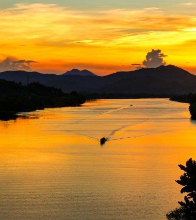 Sunset over river in Hue, Vietnam