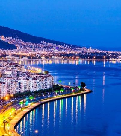 Aerial view of Izmir, Turkey at night