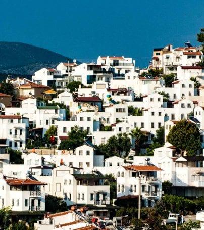 Hillside houses of Kusadasi, Turkey