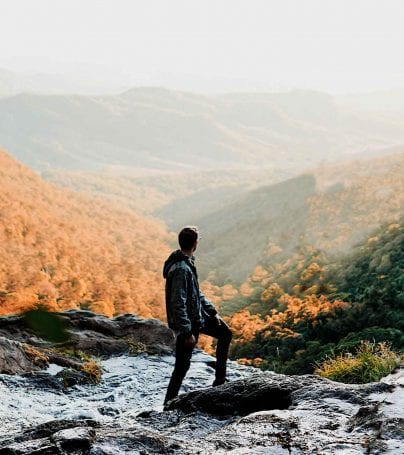 Person looking out over Lamington National Park, Australia