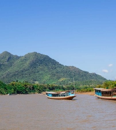 Mekong River cruise near Pakben, Laos