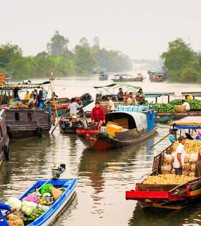 Boats of the floating market on the Mekong River