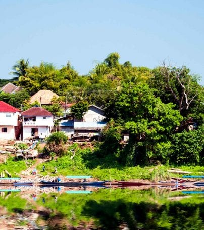 Village on the shore of the Mekong River in Laos
