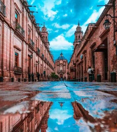 Low angle of road in Morelia, Mexico