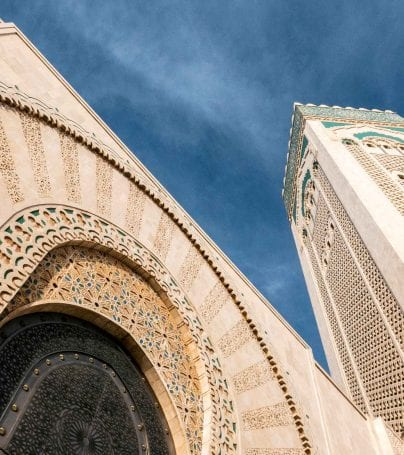 Dramatic angle of Casablanca mosque