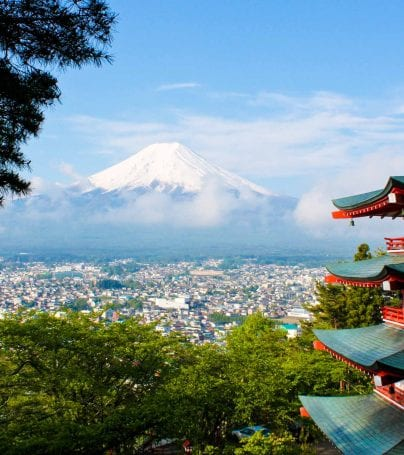 View past pagoda building toward Mount Fuji, Japan
