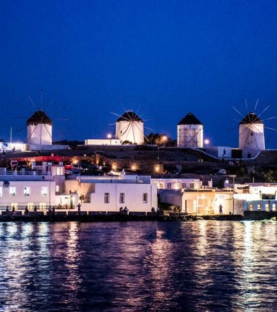 Shoreline of Mykonos, Greece at night