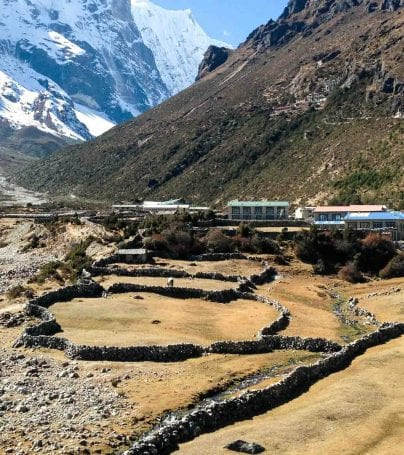 Nepal town near mountain range