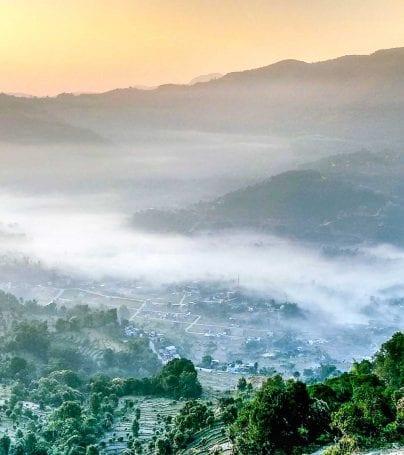 Misty valley of Pokhara, Nepal