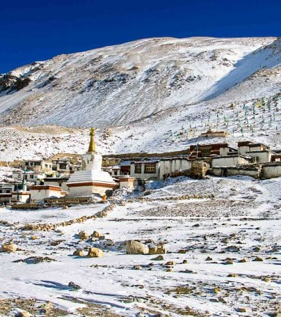 Rongbuk Monastery in the snowy hills of Tibet