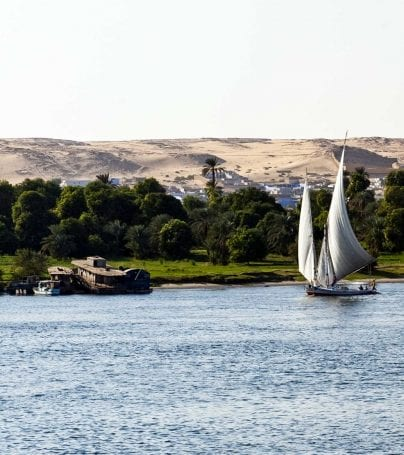 Sailboat on the Nile River in Egypt