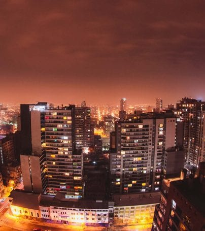 Aerial view of Santiago, Chile at night