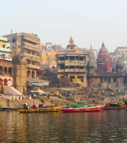 Buildings on shoreline in Varanasi, India