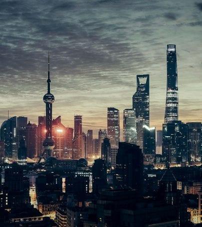 Skyline of Shanghai, China at night