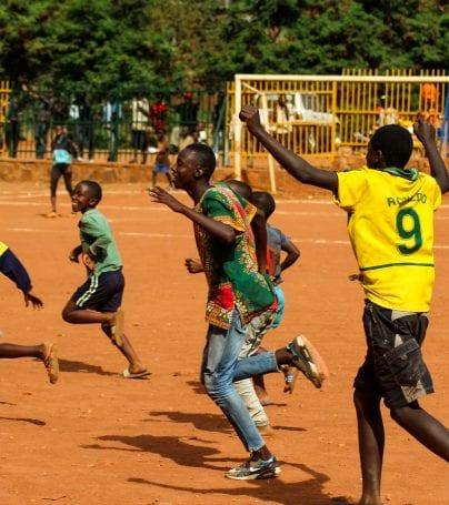 Community soccer game in Kigali, Rwanda