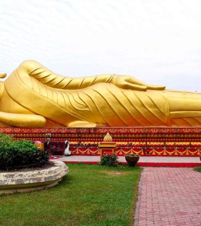 Giant golden statue in Vientiane, Laos