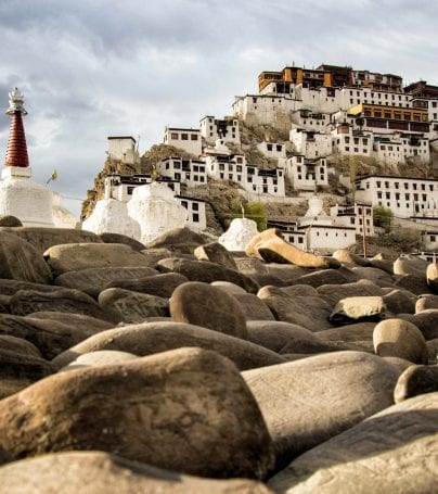 Thikse Monastery and pagodes in Tibet