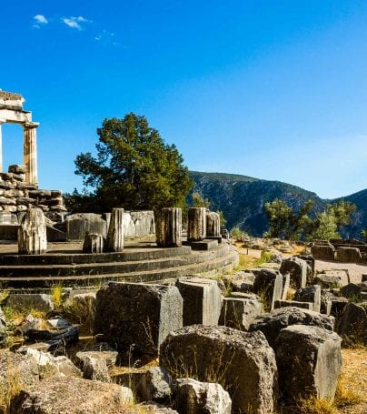 Tholos ruins at Delphi, Greece