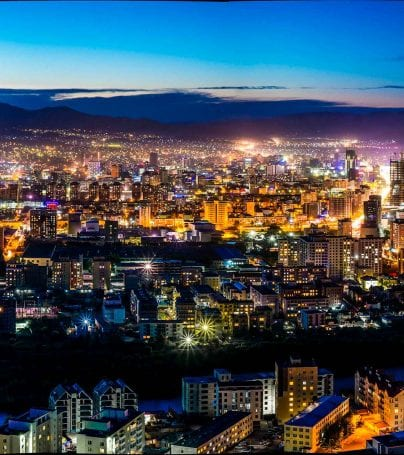 Aerial view of Ulanbaatar, Mongolia in the evening