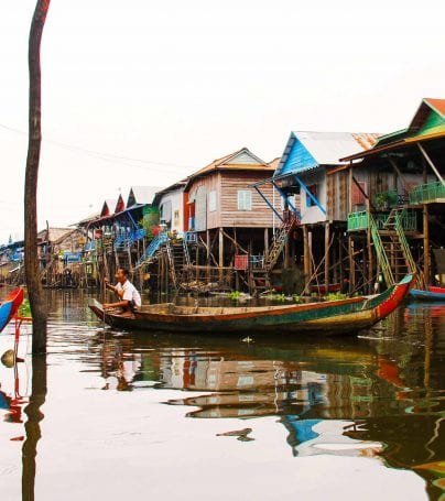 Village on the lake of Tonlé Sap, Cambodia