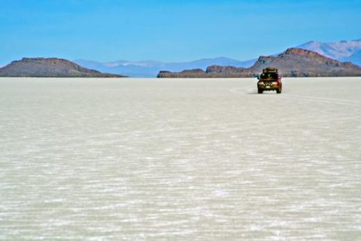 The Uyuni salt flats in the dry season