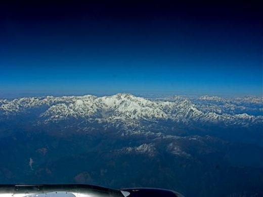 Himalayan views from the aircraft