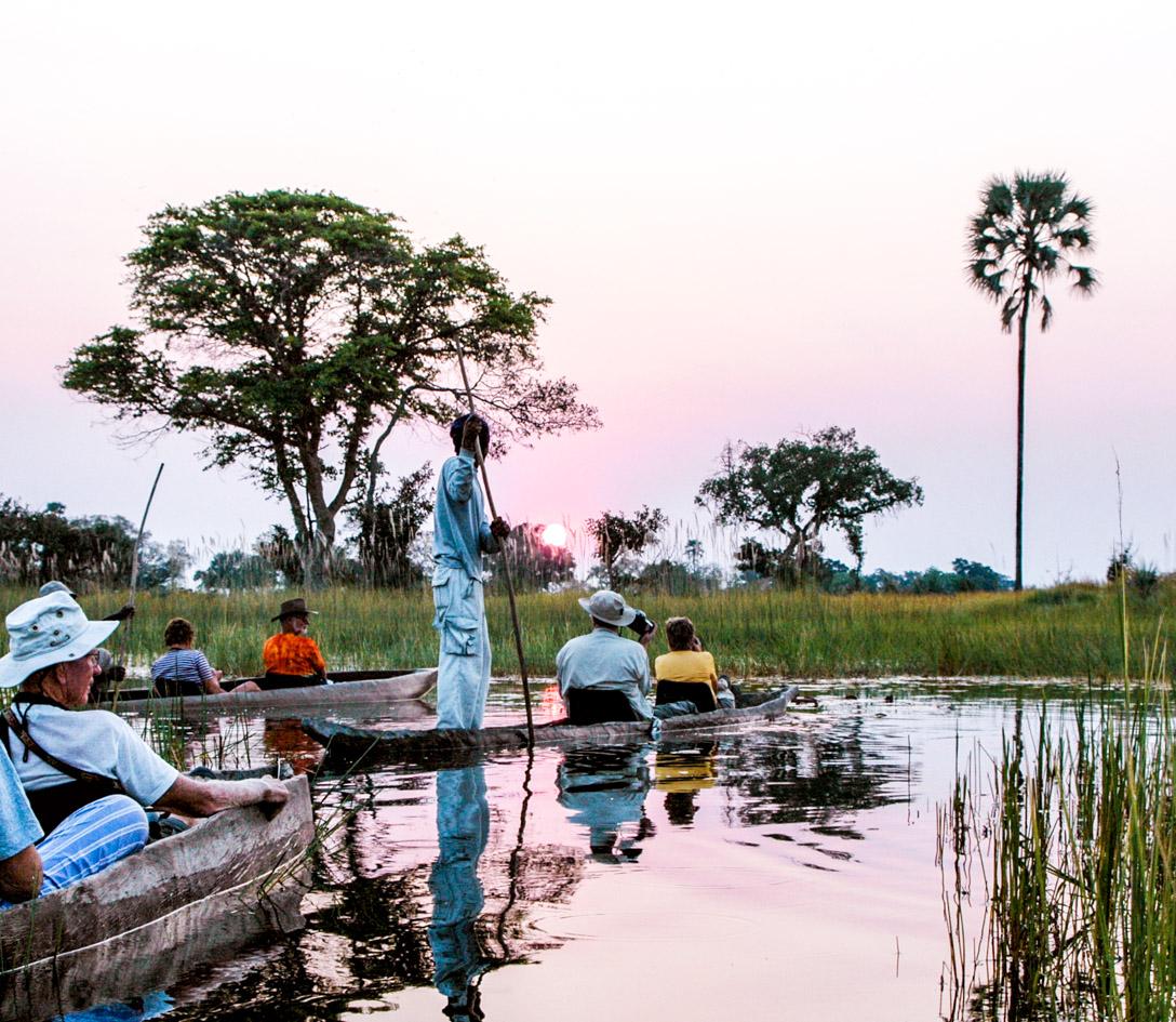 canoe on botswana okavango delta