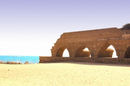 The Roman ruins at Caesarea lie right along the water (photo by K. Dochen)
