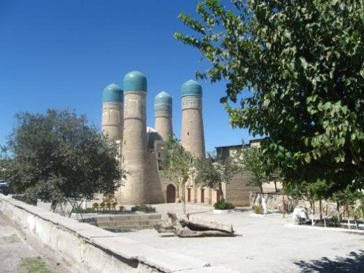 Turquoise-colored domes on minarets and domes
