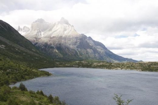 View massive mountains above glacial lakes (photo: Bo Stern)