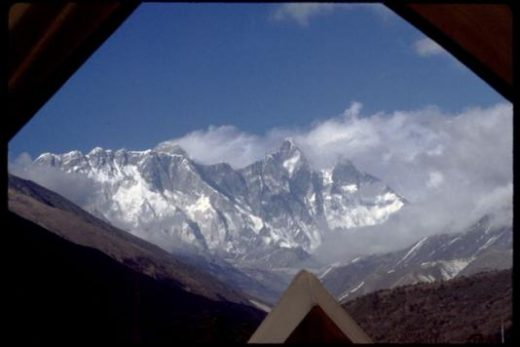 Wake up on the Tengboche grounds with a view of Everest